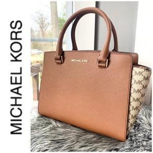 NWT authentic MK leather & monogram satchel
